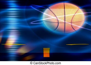 basket-ball, illuminer, entourer