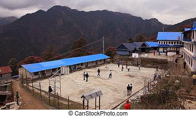 basket-ball, jeu, pays montagne, gens