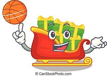 basket-ball, tas, présente, santa, traîneau, dessin animé