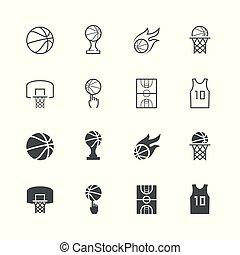 basket-ball, vecteur, ensemble, icône