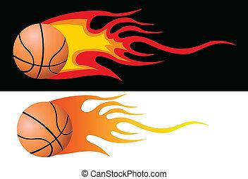 basket-ball, vecteur, flamboyant