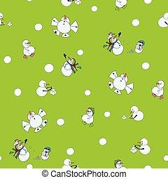 baston, boule de neige, jour, seamless, neige, vecteur, fond, snowmen, modèle, vert
