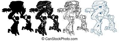 bataille, vecteur, 04..., robot, combat