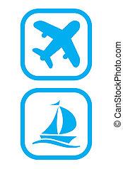 bateau, avion, icônes