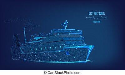 bateau, bas, points., nuit, polygonal, voyage, concept, océan, ou, sombre, shipping., business, fond, tourisme, triangles, voyage, logistique, paquebot, beau, sky., poly., bleu
