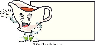 bateau, board., dessin animé, jus viande, mascotte, caractère