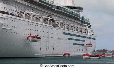 bateau, canots sauvetage, déployer, croisière