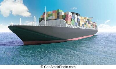 bateau, cargaison, mer, récipient