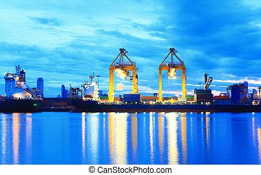 bateau, cargaison, port