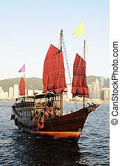 bateau, chinois, voile