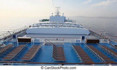 bateau croisière, deckchairs, mer, pont