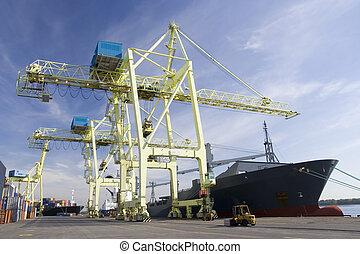 bateau, déchargement, grues, port