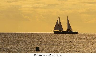 bateau, dépassement, voile