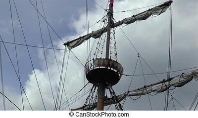 bateau, détail, mast., galion