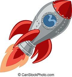 bateau, dessin animé, fusée, espace
