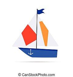 bateau, dessin animé, illustration, icône