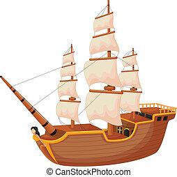 bateau, dessin animé, isolé