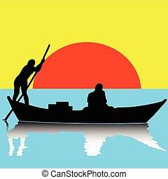 bateau, deux, illustration, homme