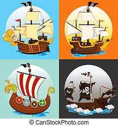 bateau, ensemble, pirate, collection