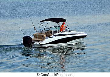bateau, high-end, moteur, moteur, actionné, une, extérieur