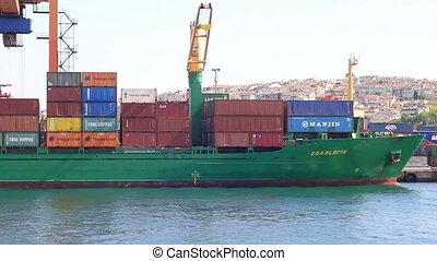 bateau, marchandises, récipient, chinois