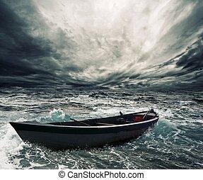 bateau, mer, orageux, abandonnés