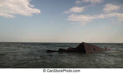bateau, mer, vieux, sea., bateau, vue, krach, ship., couler, sunken, prise vue.