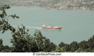 bateau, pétrolier, chimique, vue