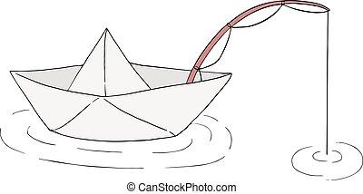 bateau pêche, illustration, papier