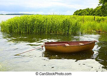 bateau pêche, lac