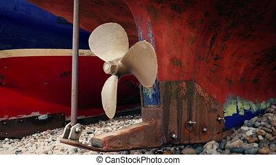 bateau pêche, tourner, hélice, coup