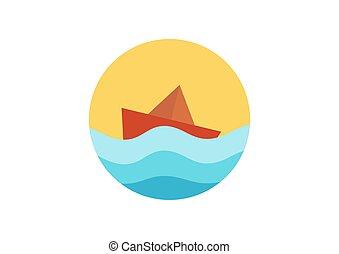 bateau, papier, illustration