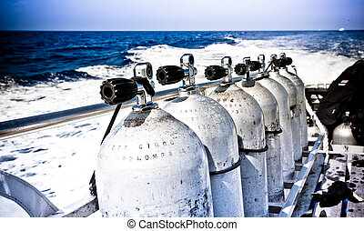 bateau, respiration, réservoirs, appareil, air