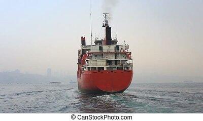 bateau, rouges, cargaison