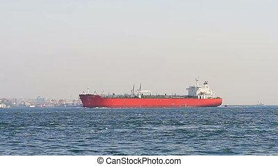bateau, rouges, pétrolier