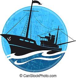 bateau, silhouette, peche, vague