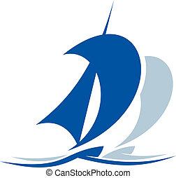 bateau, sur, voile, vagues