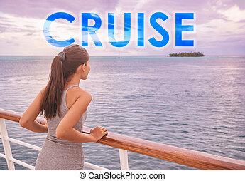 bateau, touriste, lifestyle., vacances, bateau croisière, voyage, aventure, tourisme, concept., citation, voyage, lettres, motivation, polynésie, grand, francais, fond, mot écrit, luxe, gens