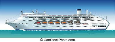 bateau, vecteur, hi-detailed, croisière