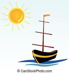 bateau, vecteur, mer, illustration, icône