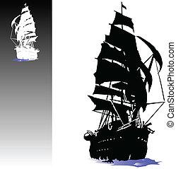 bateau, vecteur, pirates, illustration