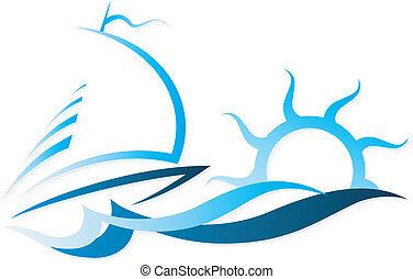 bateau, vecteur, vagues