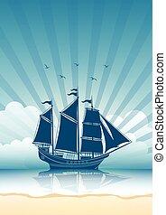 bateau, voile, fond