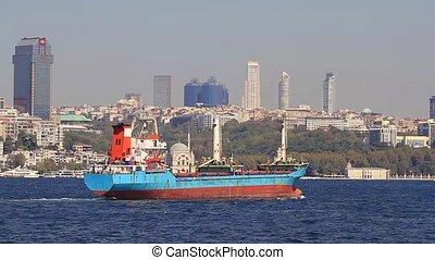 bateau, voiles, horizon, ville, passé, cargaison