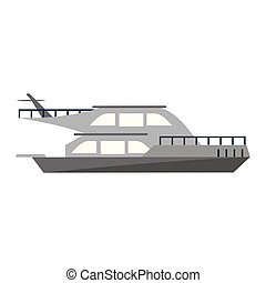 bateau, yacht, sideview, bateau, luxe