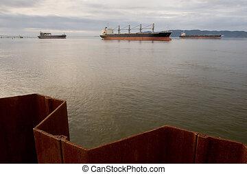 bateaux, cargaison, fleuve colombie