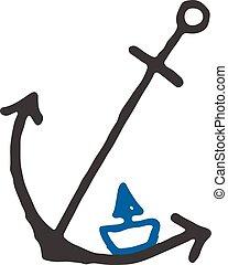 bateaux, conception, bateaux, gabarit, logo