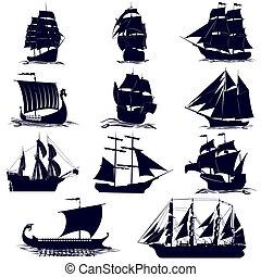 bateaux, contours, voile