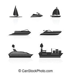 bateaux, ensemble, bateaux, icônes