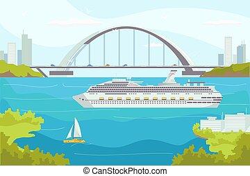 bateaux, luxe, illustration., croisière, eaux, océan, yacht, mer, transport, nautique, transport, vecteur, bateau, paquebot, travel.